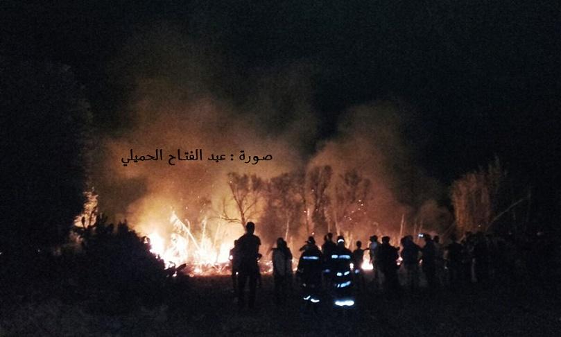 حريق مهول بحقول فلاحية محادية لعين السقي بمزارع لبكاكشة البروج