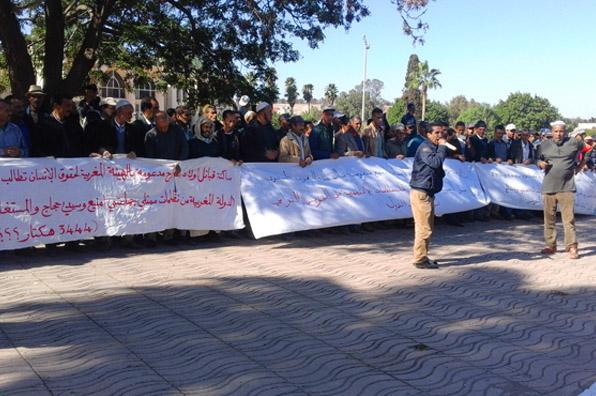 وقفة احتجاجية للتنديد بالاستيلاء على الأراضي التابعة للدولة وقفة احتجاجية للتنديد بالاستيلاء