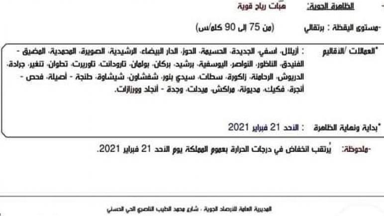 نشرة إنذارية: هبات رياح قوية بإقليم سطات يوم غد الأحد