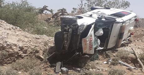 قتيلة وجرحى في حادث انقلاب سيارة اسعاف نواحي البروج