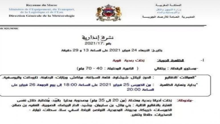 نشرة انذارية : زخات رعدية معتدلة باقليم سطات ابتداء من يوم غد الخميس (نشرة خاصة)